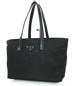 Authentic PRADA Black Nylon and Leather Tote Handbag Purse #37295
