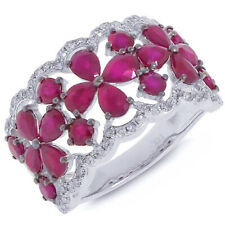 3.84 TCW 14K White Gold Pear Round Cut Ruby Diamond Floral Ring Band Cocktail