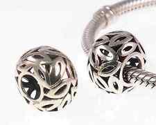 *New* Rhona Sutton 925 sterling silver filigree leaf pattern European charm bead
