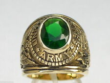 12X10 mm United States Army Military Green Emerald May Birthstone Men Ring 13