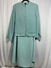 Eileen Fisher Silk 2 Piece Long Skirt L/S Set Spring Easter Wedding Size Large