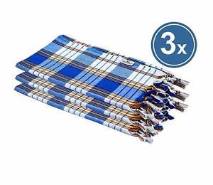 3-er Set Pestemal Check Blue Cloth Hamam Cloth Sauna Towel Classic Beach Towel