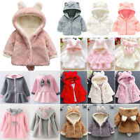 Cute Baby Girls Hooded Coat Jacket Toddler Kids Plush Rabbit Ear Winter Outwear