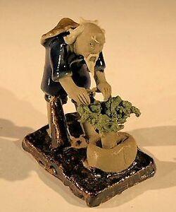 """Man Working on Bonsai Tree Blue Statue 1.5"""" x 1"""" x 2"""" tall Ceramic Figurine"""
