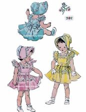 Simplicity SEWING PATTERN 1950s Baby Toddler Dress Bonnet Size 1 2 3 REPRO COPY