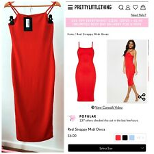 Red Strappy Midi Dress Size 10 Pretty Little Thing