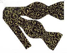 Black & Gold Bow tie / Metallic Gold Dots & Curls on Black / Self-tie Bow tie