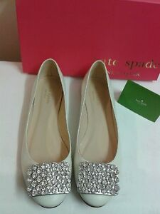"""Made Italy """"Kate Spade"""" Italy Crystal Soft Leather Flats/8.5 *Worn Once Only*"""