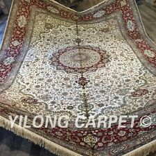 Yilong 10'x14' Big Silk Oriental Area Rug Hand Knotted Nain Large Carpets 002M