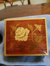 Smaller Vintage Cuendet Wood Music Box - Inlaid Wood Flower