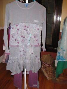 NWT New Naartjie Forest Friends Dress SET Gunmetal Grey Meow Spot Pants Size 10