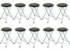 DLUX 18 Inch Silver Lightweight Folding Cushioned Outdoor & Indoor Stool 10-PACK