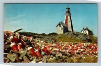 Yarmouth Lighthouse NS, Lobster Pot Markers, Nova Scotia Canada Chrome Postcard