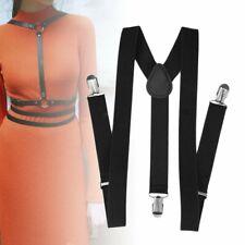 Adjustable Brace Clip-on Unisex Pants Elastic Child Y-back Suspender-Y Black TR