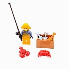 Lego City Minifig Custom Fisherman with Rod 3x Fish Crab Lobster CF89