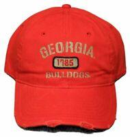 Georgia Bulldogs Adjustable Cap Red Distressed Tattered Hat NCAA