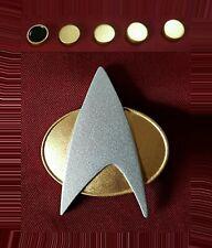 Star Trek The Next Generation Communicator Pin Combadge Com Badge + Rank Pip Set