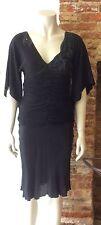 Vestido de Seda vooria Negro Tamaño 12 se adapta más pequeño 8/10. BNWOT
