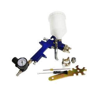 HVLP Gravity Feed Air Spray Gun Regulator Gauage 2 Nozzles 1.4mm 1.7mm Kit