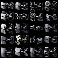 Men's Silver Black Formal Shirt Cufflinks Stainless Fashion Novelty Gift Wedding