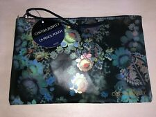 NWT~CYNTHIA ROWLEY Black w/multi-colored flowers PENCIL POUCH/Makeup Bag