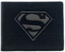 DC Comics Superman Logo METAL BADGE Faux Leather Black WALLET