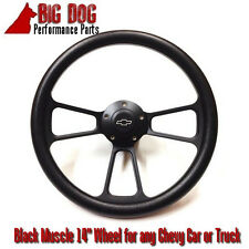 "14"" Black Steering Wheel w/ Black Chevy Horn for any Chevy Car FREE SHIPPING!"