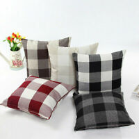 Lattice Checked Pillow Case Cotton Linen Sofa Throw Cushion Cover Home Decor