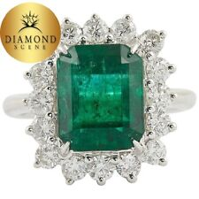 Diamond Cocktail Ring Green Emerald and
