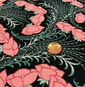 Pink Flowers Long Leafy Stems on Black* Timeless Treasures *100% Cotton Remnant