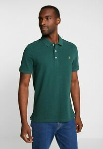 FARAH Blanes Short Sleeve Polo in Bright Emerald Marl Size Small S  (FS99-14)