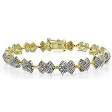 Genuine Diamond Accent X Tennis Bracelet in Gold Tone