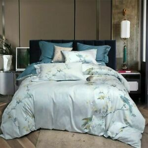 Egyptian Cotton Printed Bedding Sets Two Size Flat Sheet Duvet Cover Bed Linen