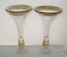 ELEGANT VERY OLD Glass VASE or CANDLESTICK PAIR Use these as Either WEAR on GOLD