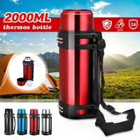 2000ML Stainless Steel thermos Bottle Mug Flask Thermal Water Insulated Travel