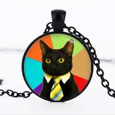 Business Cat Black Glass Cabochon Necklace chain Pendant Wholesale