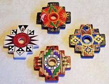 Peruvian Ceramic Incan Andean Star Chacana Focal Pendant Bead Set of 4 DIY Charm