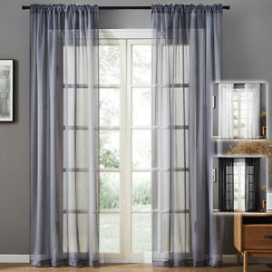 1/2/4 Panels Tulle Voile Curtains Window Sheer Screening Gauze Drapes Home Decor