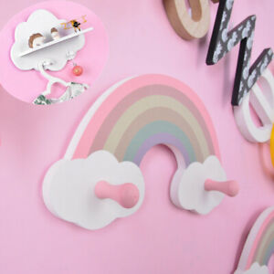 Rainbow Cloud Shape Wood Floating Shelf Wall Mounted Display Kids Bedroom Decor