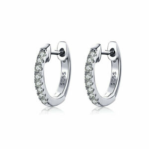 925 Sterling Silver Fashion Clear AAA CZ Huggie Earring For Women Birthday Gift