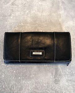 Esprit Geldbörse, Geldbeutel, Portemonnaie aus Leder - Vintage / Schwarz