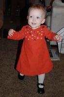 GYMBOREE Thanksgiving Orange Buttons Corduroy Dress + Baby Gap Tights 12-18M