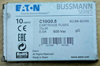 Eaton Bussmann C10G0.5 Fuses Box of 10 0.5A 500V - New in Box
