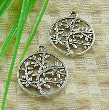 Free Ship 55 pieces tibetan silver tree charms 23x20mm #4530
