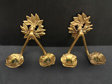 Pair of Wall Hanging Solid Brass Leaf 2 Arms Flower Shape Candle Holder Vintage