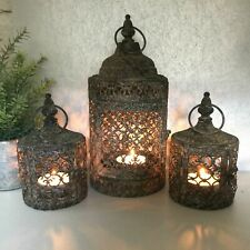 Set 3 Antique Vintage Style Moroccan Lantern Candle Holder Tea Light Garden Home