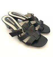 "Women's NATURALIZER Sz 7 N ""Silence"" Black Leather Slip On Low Heel Sandal Shoes"