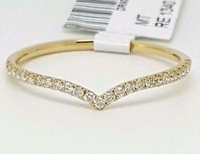 14K Yellow Gold Natural Diamond Chevron Curved Wedding Band Ring Enhancer Pave