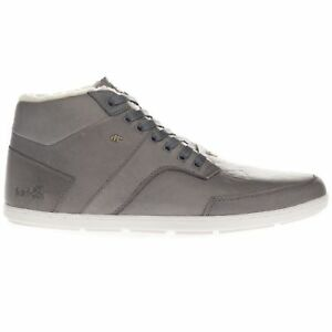 Boxfresh Men's Sheppertron Fur Leather Mid Top Casual Trainers Grey Shoes
