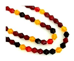 75 Preciosa Czech Fire Polished Glass 6mm Ruby Red Jonquil Faceted Bicone Beads